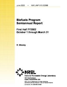 Biofuels Program Semiannual Report