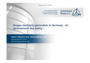 Biogas electricity generation in Germany -its development and policy -