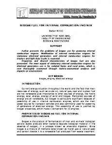 BIOGAS FUEL FOR INTERNAL COMBUSTION ENGINES