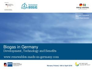 Biogas in Germany. Development, Technology and Benefits