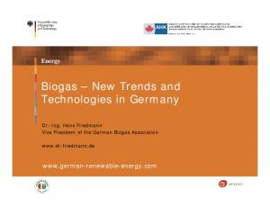 Biogas New Trends and Technologies in Germany