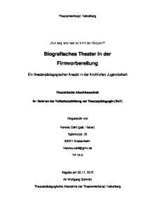 Biografisches Theater in der Firmvorbereitung
