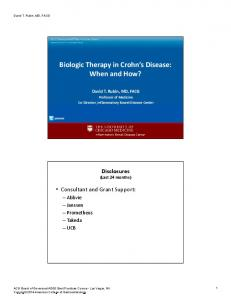 Biologic Therapy in Crohn s Disease: When and How?
