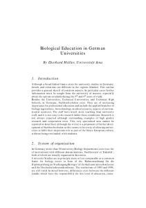 Biological Education in German Universities