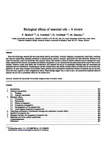 Biological effects of essential oils A review
