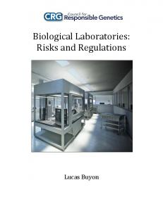Biological Laboratories: Risks and Regulations
