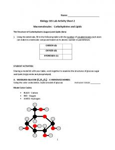 Biology 165 Lab Activity Sheet 2. Macromolecules: Carbohydrates and Lipids