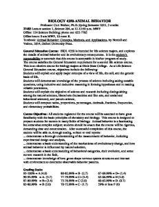 BIOLOGY 4350-ANIMAL BEHAVIOR