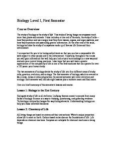 Biology Level I, First Semester
