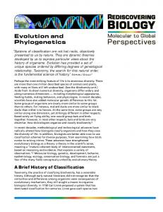 BIOLOGY REDISCOVERING. Evolution and Phylogenetics. Molecular to Global Perspectives. A Brief History of Classification