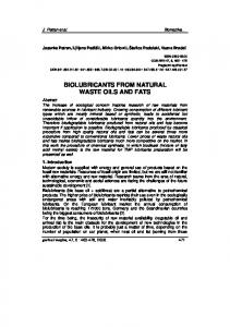 BIOLUBRICANTS FROM NATURAL WASTE OILS AND FATS