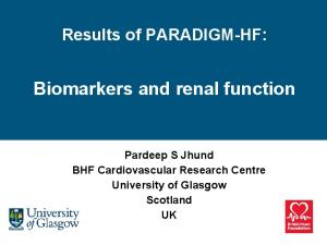 Biomarkers and renal function