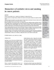 Biomarkers of oxidative stress and smoking in cancer patients
