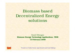 Biomass based Decentralized Energy solutions