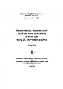 Biomechanical assessment of head and neck movements in neck pain using 3D movement analysis