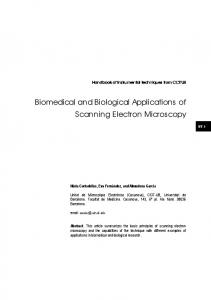 Biomedical and Biological Applications of Scanning Electron Microscopy