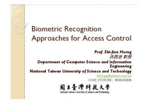 Biometric Recognition Approaches for Access Control
