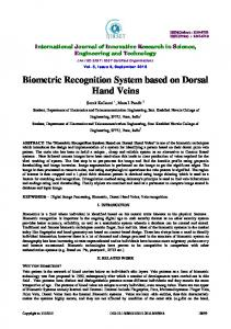 Biometric Recognition System based on Dorsal Hand Veins