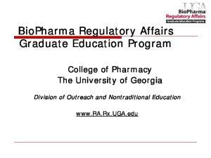BioPharma Regulatory Affairs Graduate Education Program