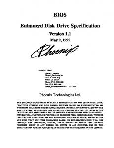 BIOS. Enhanced Disk Drive Specification