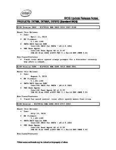 BIOS Update Release Notes
