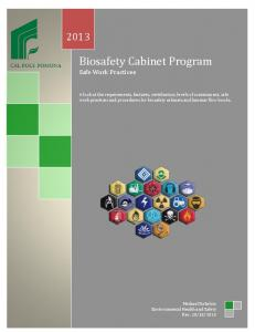 Biosafety Cabinet Program Safe Work Practices