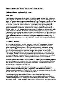 BIOSCIENCES AND BIOENGINEERING (Biomedical Engineering): BM