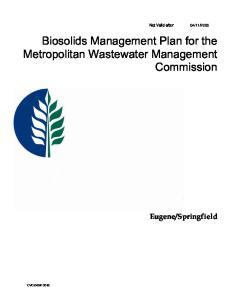 Biosolids Management Plan for the Metropolitan Wastewater Management Commission