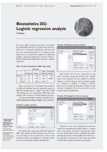 Biostatistics 202: Logistic regression analysis