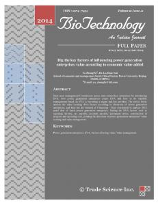 BioTechnology. An Indian Journal FULL PAPER. Trade Science Inc