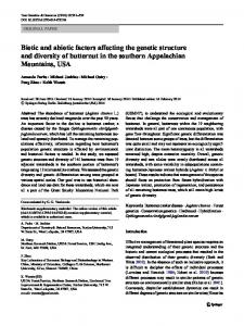 Biotic and abiotic factors affecting the genetic structure and diversity of butternut in the southern Appalachian Mountains, USA