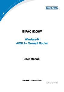 BiPAC 5200W Wireless-N ADSL2+ Firewall Router User Manual