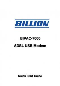 BIPAC ADSL USB Modem. Quick Start Guide