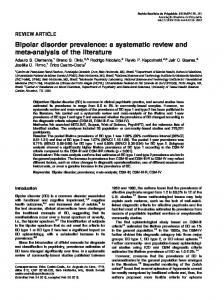 Bipolar disorder prevalence: a systematic review and meta-analysis of the literature