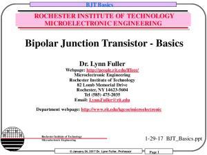 Bipolar Junction Transistor - Basics
