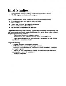 Bird Studies: Comparison essay for two similar bird species bird species will be assigned. The following success criteria must be completed