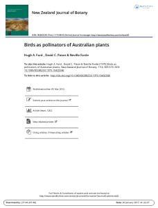 Birds as pollinators of Australian plants