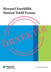 Bireysel Emeklilik Sistemi Teklif Formu