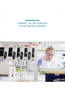 Birmingham Central to life SCienCeS in the UniteD KinGDoM