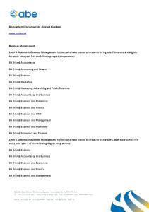 Birmingham City University - United Kingdom.  Business Management