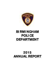 BIRMINGHAM POLICE DEPARTMENT 2015 ANNUAL REPORT