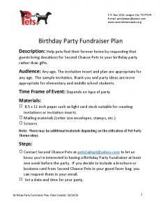Birthday Party Fundraiser Plan