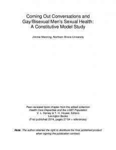 Bisexual Men s Sexual Health: A Constitutive Model Study