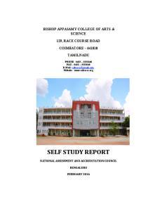 BISHOP APPASAMY COLLEGE OF ARTS & SCIENCE 129, RACE COURSE ROAD COIMBATORE TAMILNADU