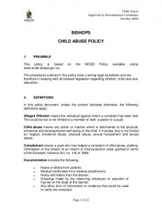 BISHOPS CHILD ABUSE POLICY