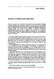 Bivariate Correlation with Spatial Data