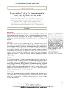 Biventricular Pacing for Atrioventricular Block and Systolic Dysfunction