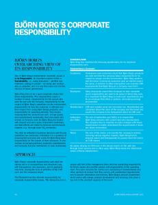 BJÖRN BORG S CORPORATE RESPONSIBILITY