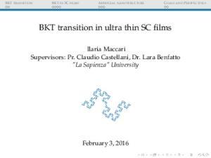 BKT transition in ultra thin SC films