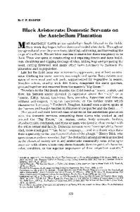 Black Aristocrats: Domestic Servants on the Antebellum Plantation
